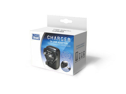 2A USB Power Adaptor & Charger - UK Plug - Black - Netbit UK