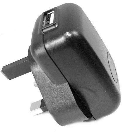 1A USB Power Adaptor & Charger - UK Plug - Black - Netbit UK