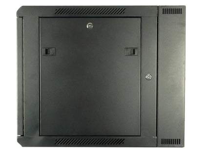 18U 550mm Double Sectioned Data Wall Comms Cabinet (450+100mm) - Black