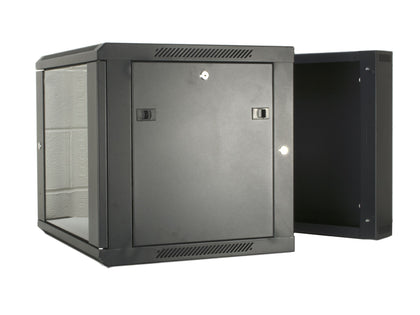 12U 550mm Double Sectioned Data Wall Comms Cabinet (450+100mm) - Black