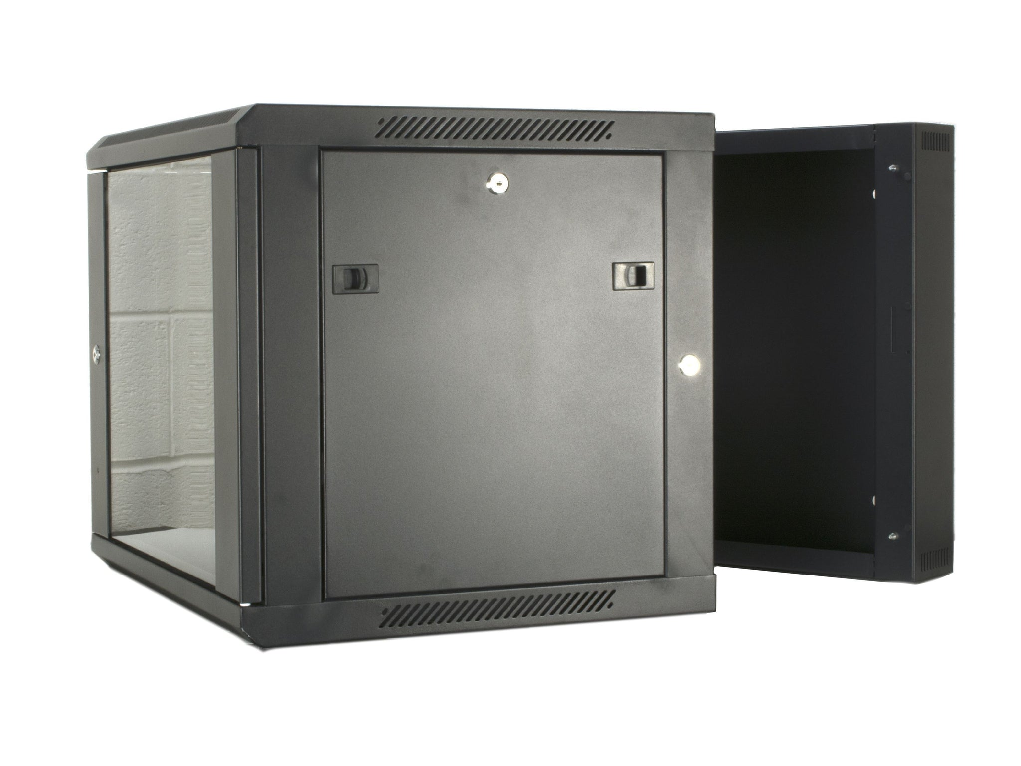 15U 550mm Double Sectioned Wall Cabinet (450+100mm) - Black
