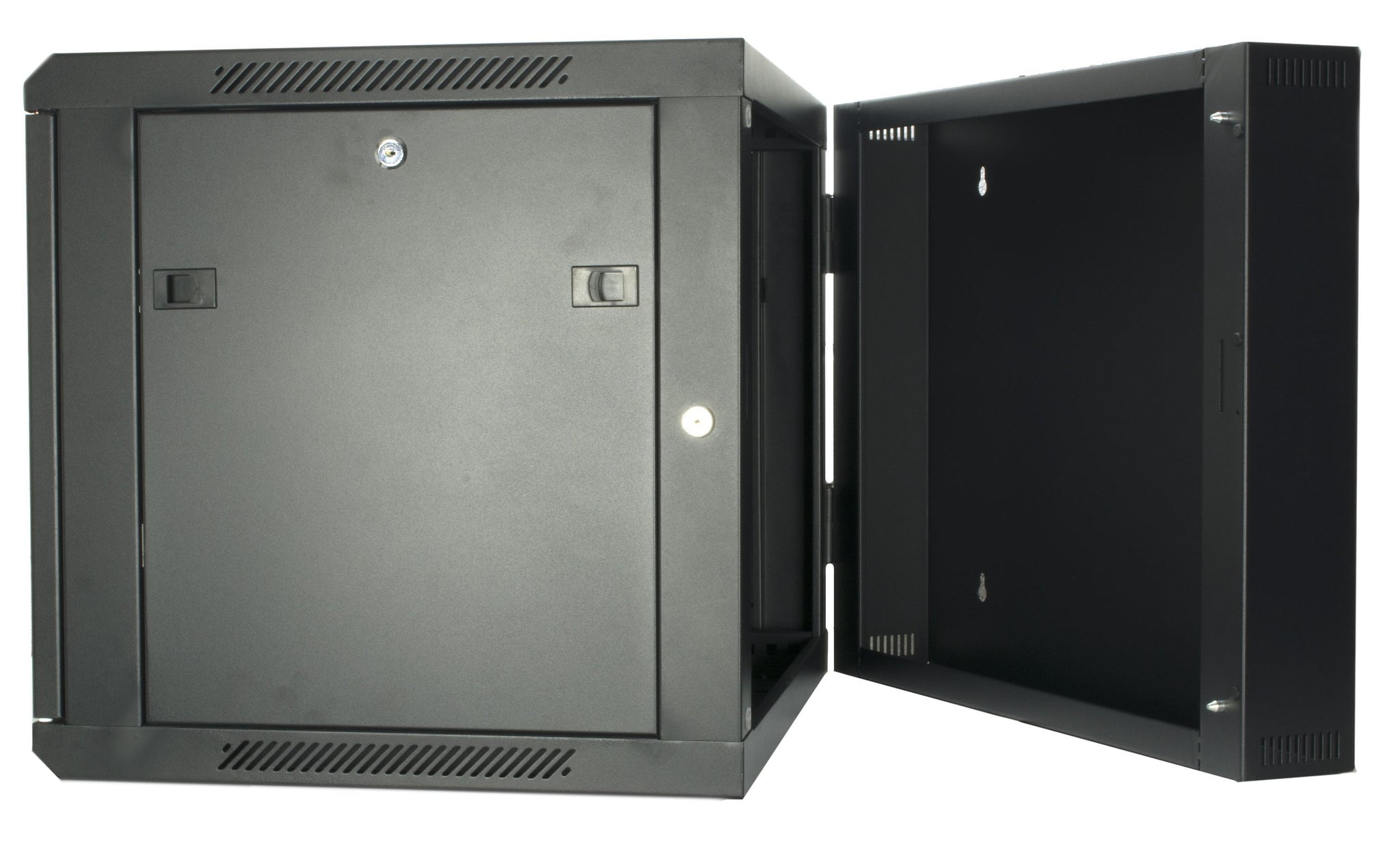 15U 550mm Double Sectioned Data Wall Comms Cabinet (450+100mm) - Black