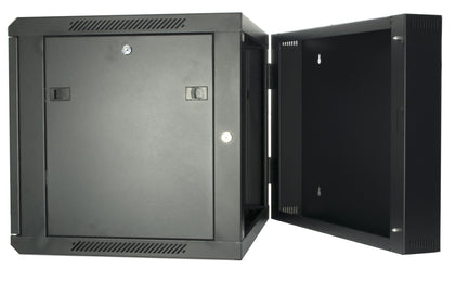 9U 550mm Double Sectioned Data Wall Comms Cabinet (450+100mm) - Black - Netbit UK