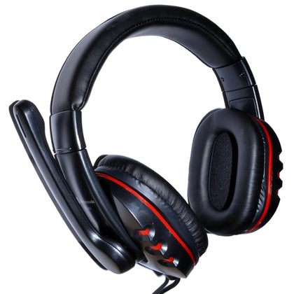 Red & Black Stereo Headphones with Microphone - Braided Cable & Inline Volume control, 2m 3.5mm jack/s - Full Ear - Netbit UK
