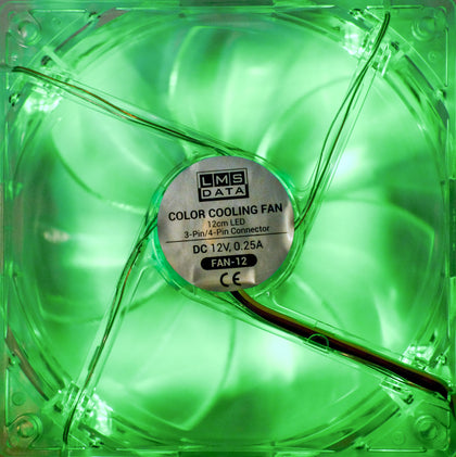 120mm LED Case Fan, 4-Pin/3-Pin - Green - Netbit UK