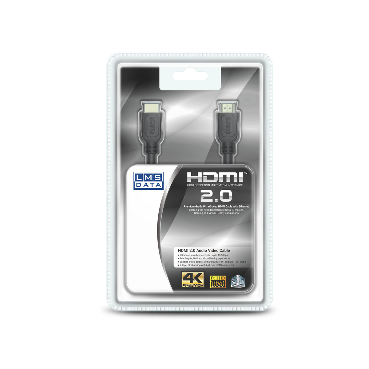 High Speed 4K HDMI2.0 Cable - 1.0m (Retail Blister)