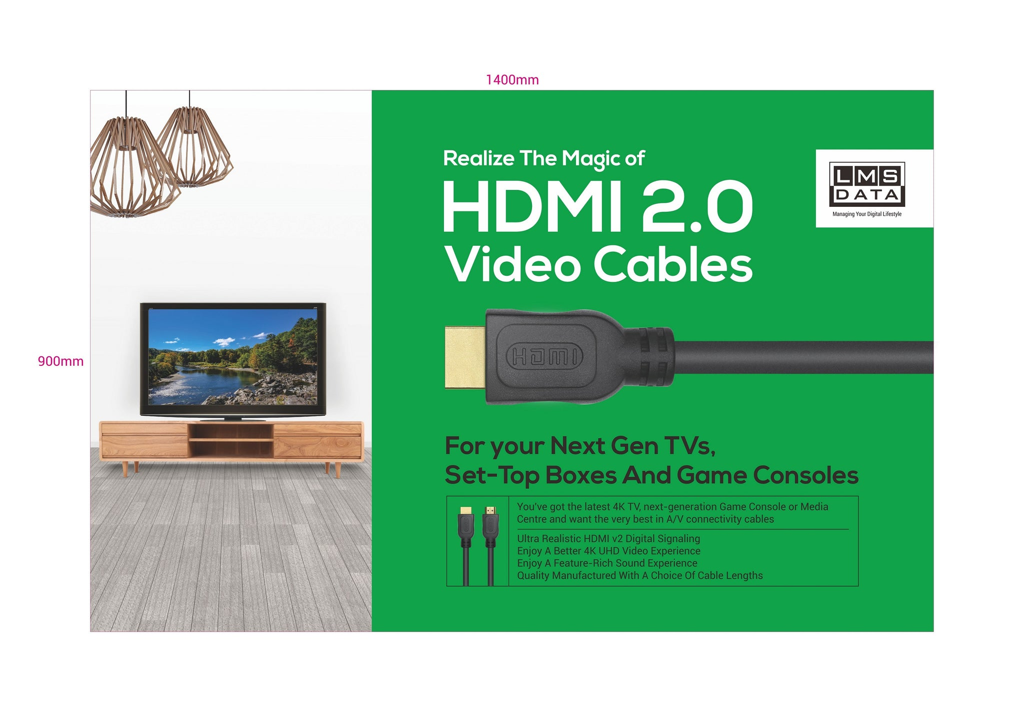 HDMI2.0 Cable - 1m (PE bag)