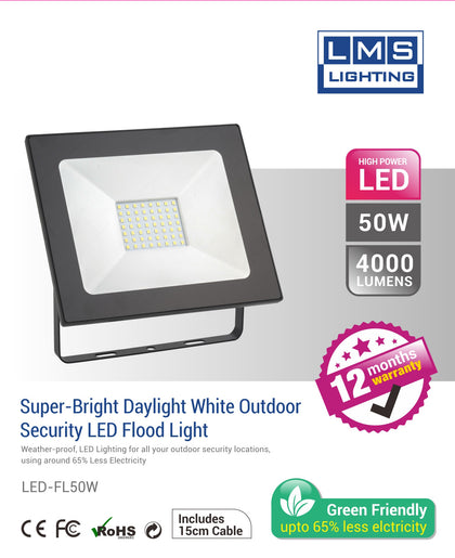 50W LED Flood Light - 4000LM / Lumens (IP65) 2835 - Netbit UK