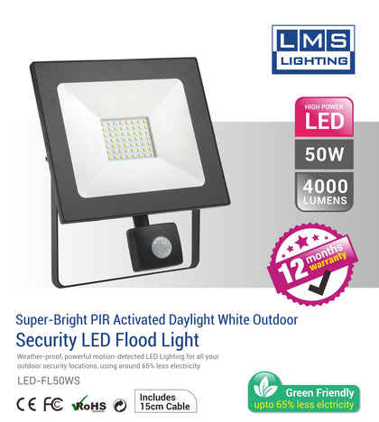 50W LED Flood Light with Sensor - 4000LM / Lumens (IP44) 2835 - Netbit UK