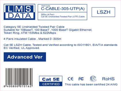 305M CAT5E UTP SOLID CABLE (LSZH) VIOLET