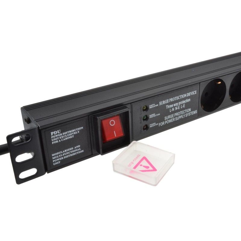 "1U 19"" 10 Way Vertical Switched 16A Schuko Sockets  to Schuko Plug PDU with Surge Protection (Rackmount)"