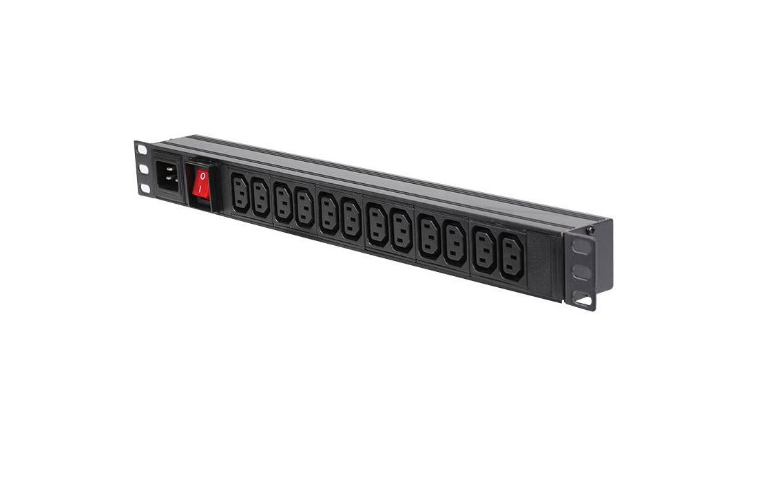 "1U 19"" 12 Way Horizontal Switched 10A IEC13 Sockets & C20 Inlet PDU (Rackmount)"