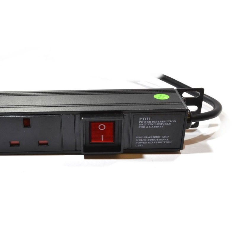 "1U 19"" 12 Way Vertical Switched UK 13A Sockets to IEC20 Plug  PDU (Rackmount)"
