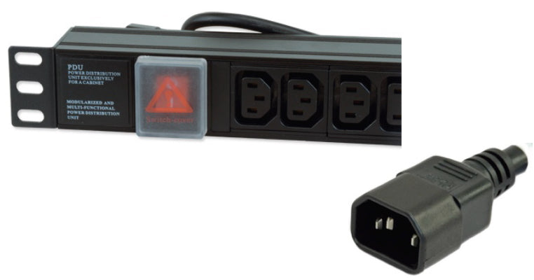 "1U 19"" 6 Way Horizontal Switched 10A IEC13 Sockets to IEC14 Plug PDU (Rackmount)"