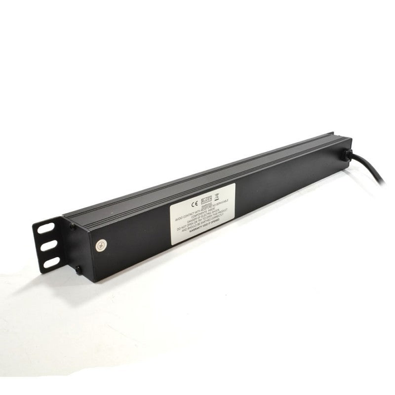 "1U 19"" 6 Way Horizontal Switched 10A IEC13 Sockets to UK Plug PDU (Rackmount)"