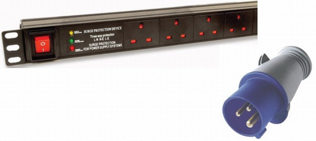 "1U 19"" 6 Way Switched Horizontal UK 13A Sockets to 32A Commando Plug PDU / Power Bar with Surge Protection (Rackmount)"