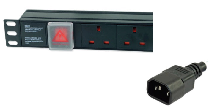 "1U 19"" 6 Way Horizontal Switched UK 13A to IEC14 Plug PDU (Rackmount)"