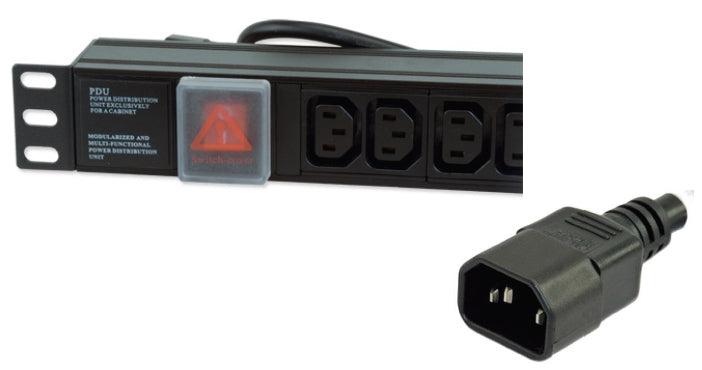 "1U 19"" 8 Way Horizontal Switched 10A IEC13 Sockets to IEC14 Plug PDU (Rackmount)"