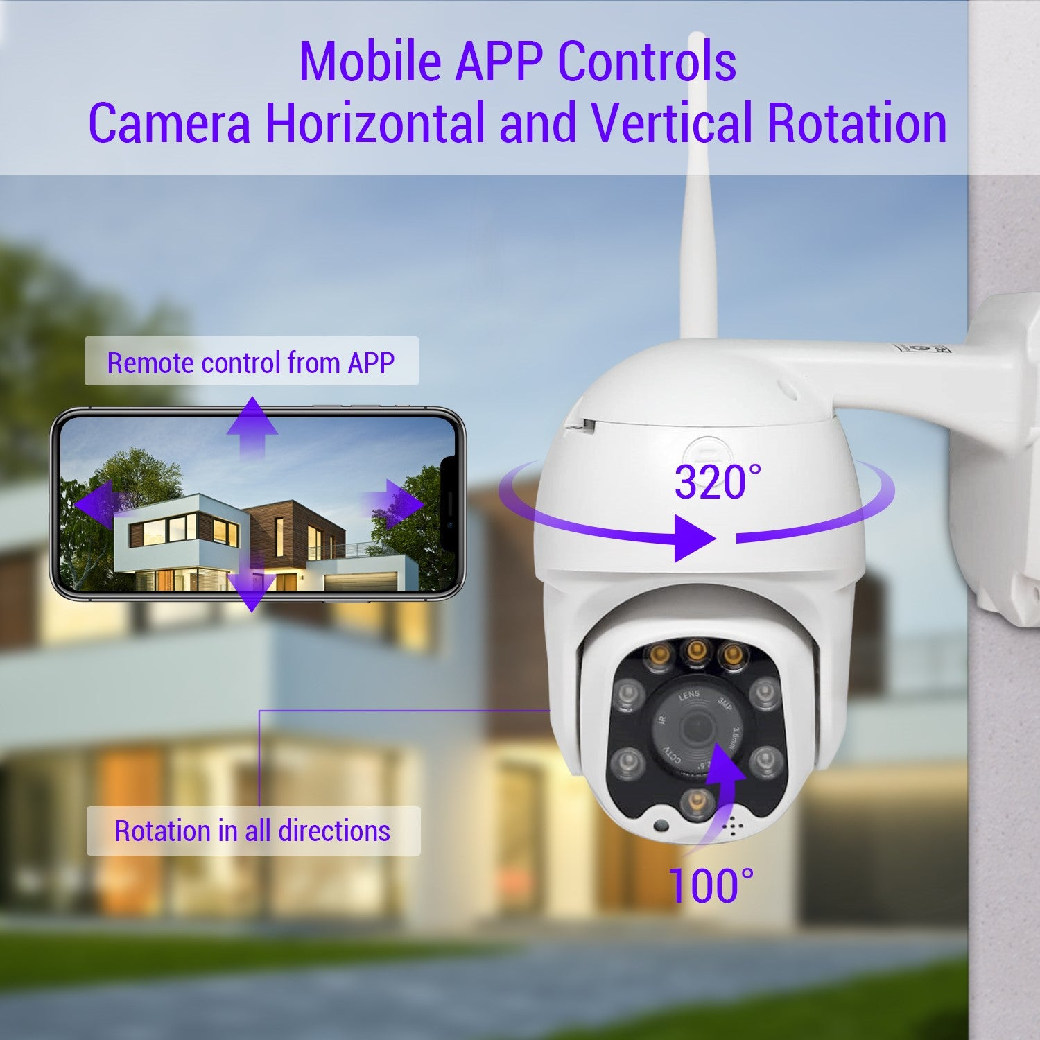 Wireless Outdoor Wifi IP Home Security CCTV Camera 1080P Pan/Tilt/Wide Angle with Night Vision, Waterproof, Smart Motion Sensor