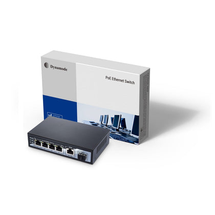 4 Port Gigabit Ethernet 10/100/1000 Desktop PoE Switch + 1 Uplink + SFP Port
