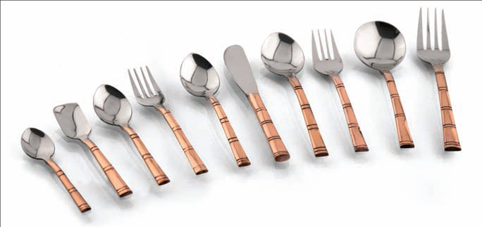 Ss Copper Bambboo Pattern Table Spoon, The Ancient Village - Fivebutlers