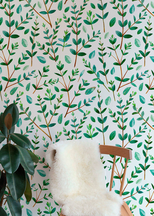 Removable Wallpaper Peel and Stick Wallpaper Wall Paper Wall Mural - Leaf Wallpaper Tropical Wallpaper - A463