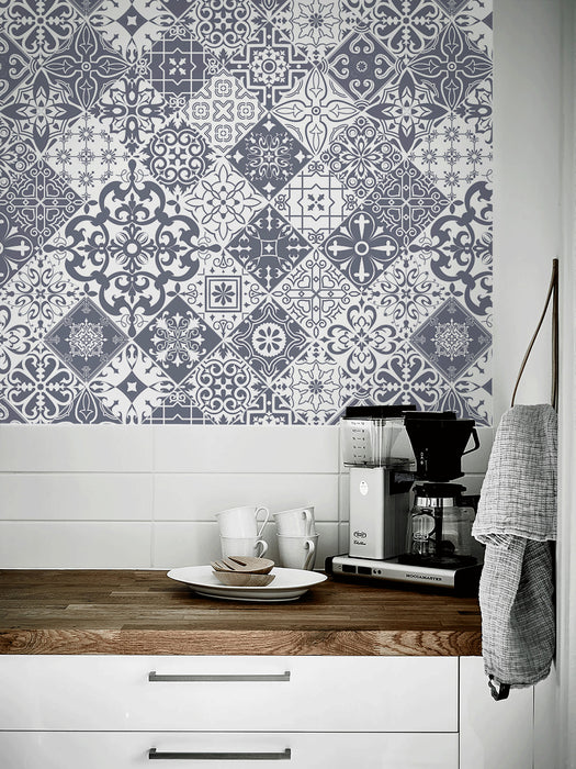 Removable Wallpaper Peel and Stick Wallpaper Wall Paper Wall Mural - Portuguese Azulejos Tile Wallpaper - A555