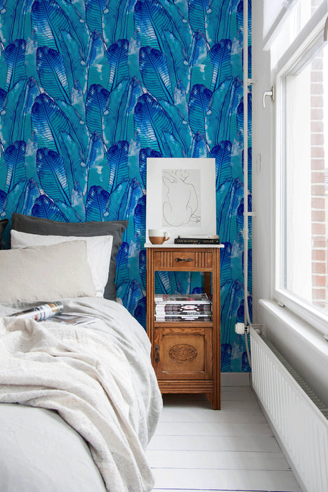 Removable Wallpaper Peel and Stick Wallpaper Wall Paper Wall Mural - Blue Banana Leaf Wallpaper Tropical Wallpaper - A513