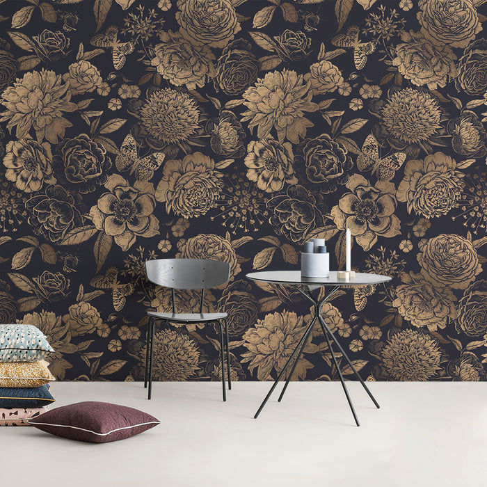 Removable Wallpaper Peel and Stick Wallpaper Wall Paper Wall Mural - Vintage Flower Black And White and Non-Metalic Gold Color - A922