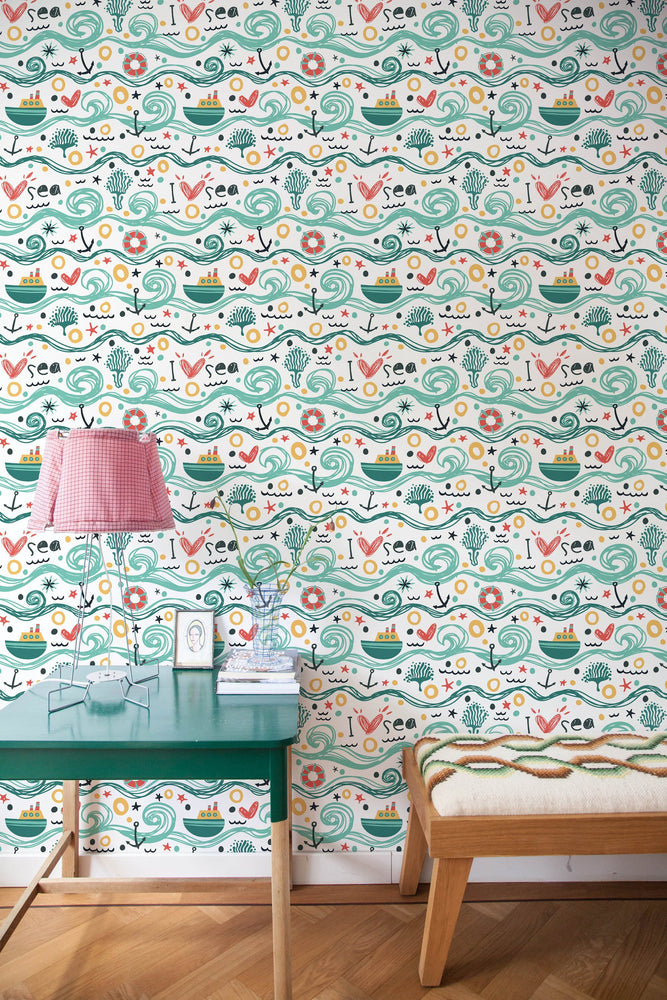 Nursery Wallpaper - Waves Removable Wallpaper