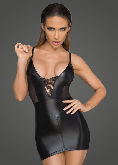 Power Wetlook Minidress with Tulle