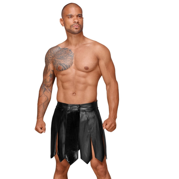 DECADENCE Eco leather men's gladiator skirt, PVC pleats