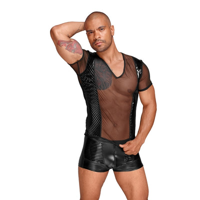 DECADENCE Tulle men's shirt with PVC pleats