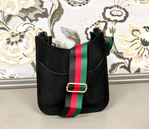 Mini Suede Messenger in Black