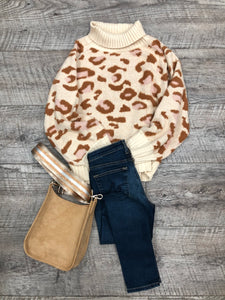 Pink Leopard Turtleneck Sweater