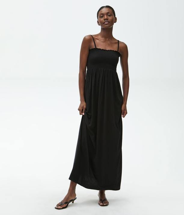 Smocked Maxi Dress in Black