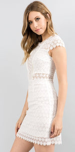 Minuet White Lace Short Dress
