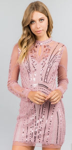 Pink Sequins Short Dress