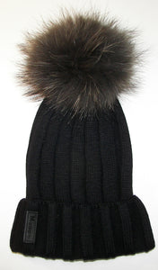 Black Ribbed Pom Pom Hat