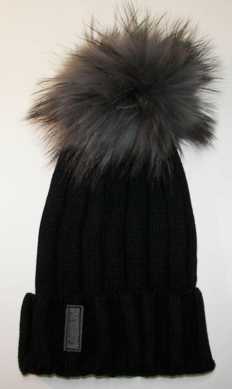 Black Ribbed Pom Pom Hat - Dark Grey Black Fur