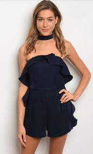 Navy Blue One Piece Romper Choker Style Neck