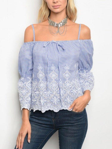 Blue Lace off the Shoulder Top