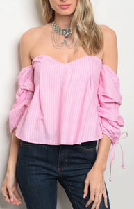 Pink Off the Shoulder Puff Sleeve Top