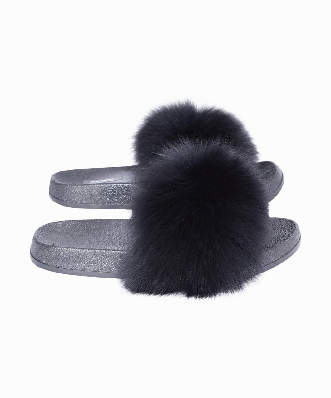 Maniere' Black Furry Pom Pom Slides