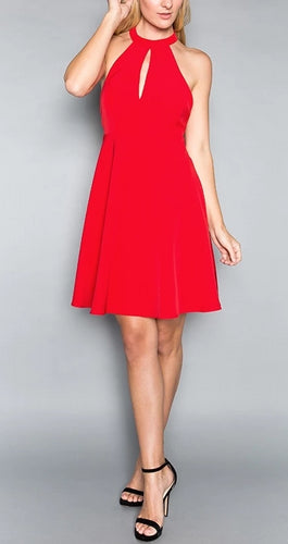 Red Fit and Flare Dress Minuet Style 8837