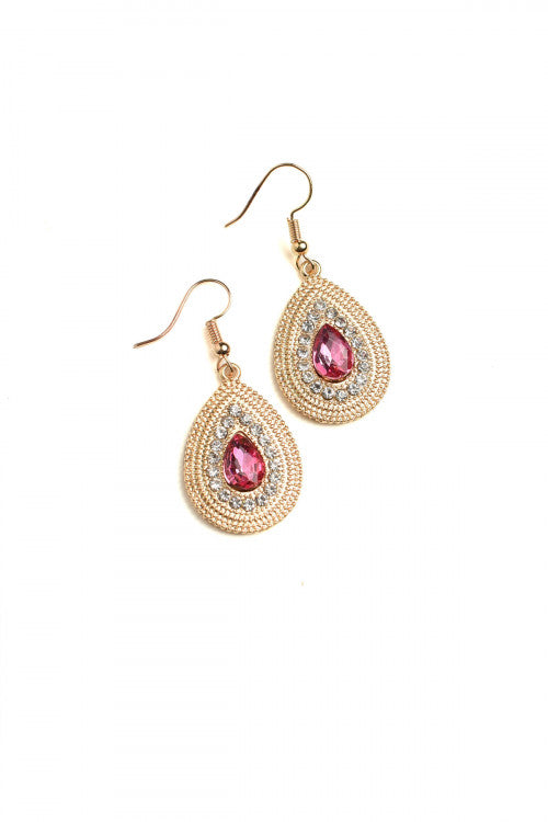 Stone Design Drop Earrings