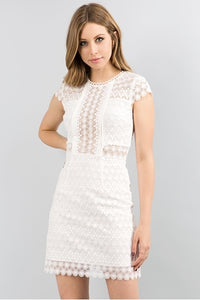 White Lace Short Dress Minuet 9102