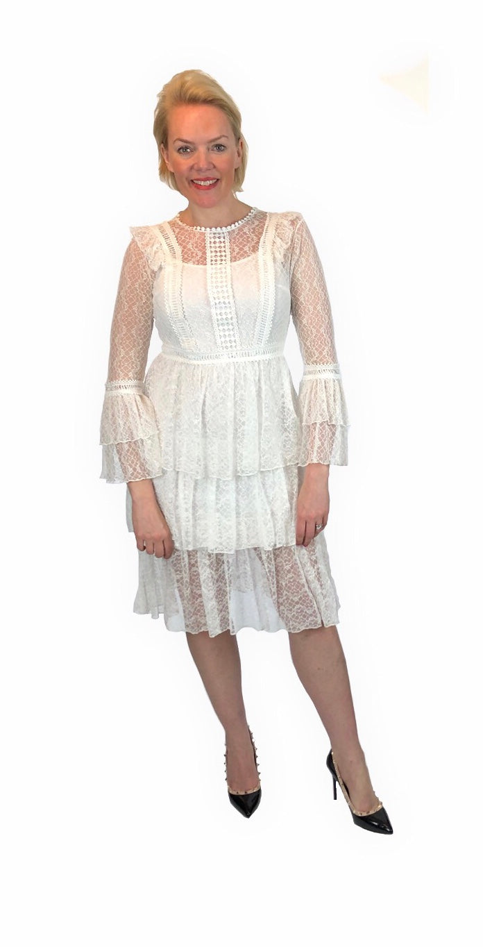 Self Portrait Inspired White Lace Occasion Dress - chichappensboutique