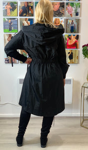 Black Parker Mac with ribbon detailing - chichappensboutique