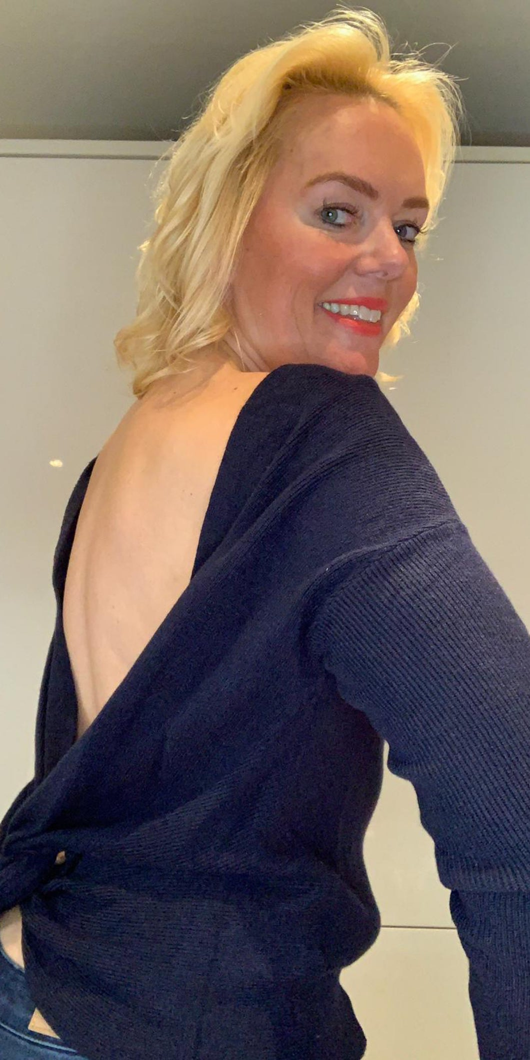 Navy Backless Crossover Knit - chichappensboutique